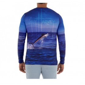 Camiseta Guy Harvey UPF 50 Perfomance Fish On Estate Blue