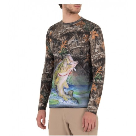 Camiseta Guy Harvey UPF 50 Perfomance Bass Bending Realtree