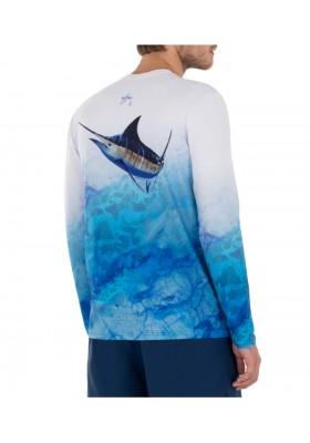 Camiseta Guy Harvey UPF 50 Perfomance Camo Marlin Light