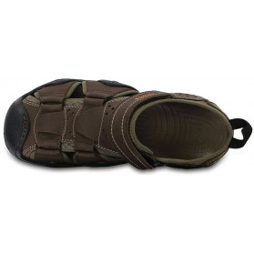 Crocs Swiftwater Leather Fisherman Espresso/Walnut