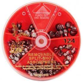 Surtido Plomadas de pellizco Eagle Claw Split-Shot Sinker Removibles 02180H-002 PAQx124