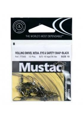 Girador con Gancho Mustad 77560 Rolling Swivel Diamond Eye & Safety Snap